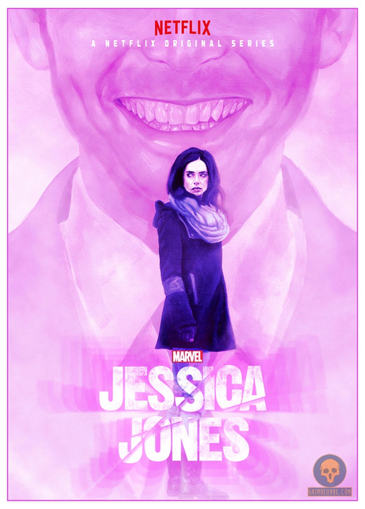 Jessica Jones Poster Oil paint on paper 8x12 ish inches Digital effects and text