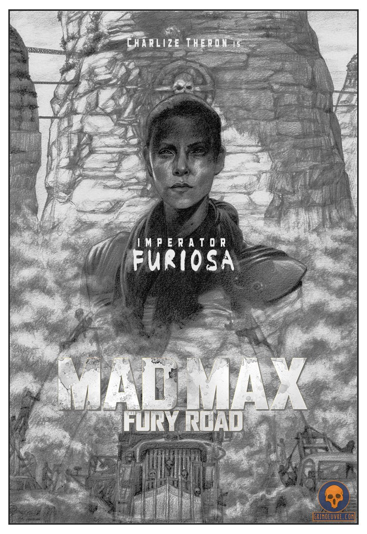 mad max furiosa hand drawn pencil poster by rupam @ grimoeuvre.com