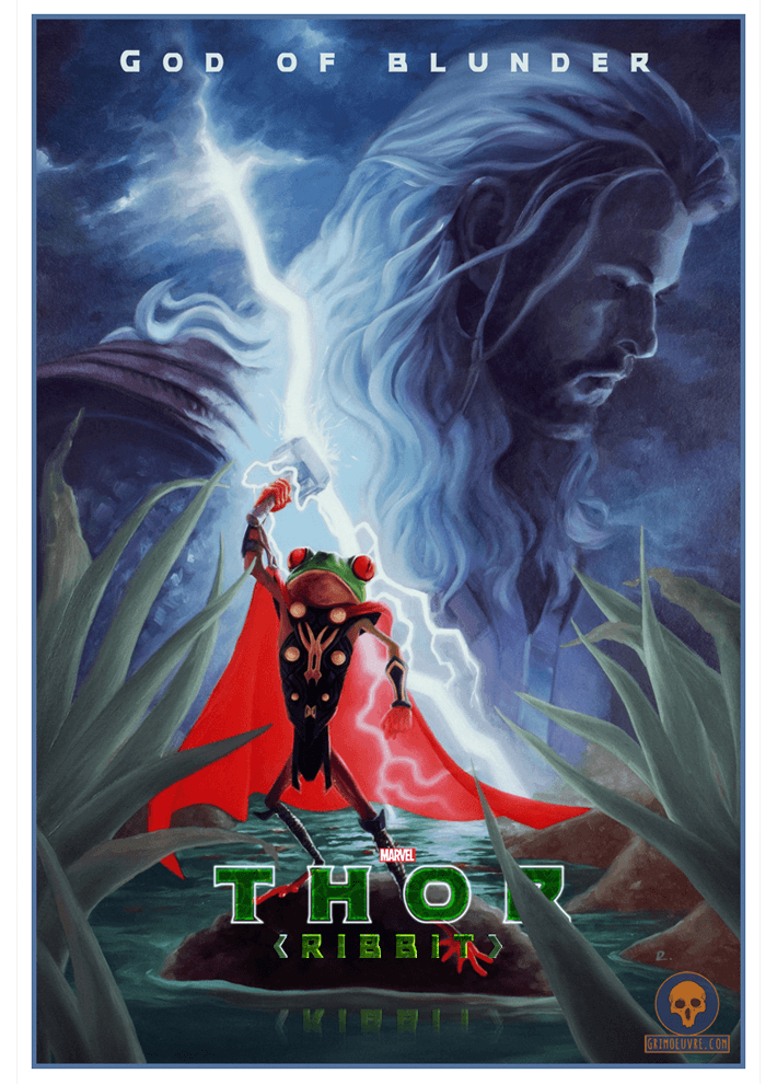 Thor ribbit oil painting poster by rupam @ grimoeuvre.com