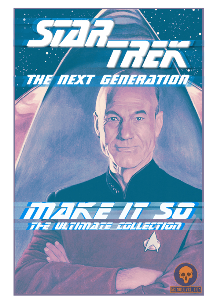 star trek tng Picard watercolor mixed media poster by rupam @grimoeuvre.com